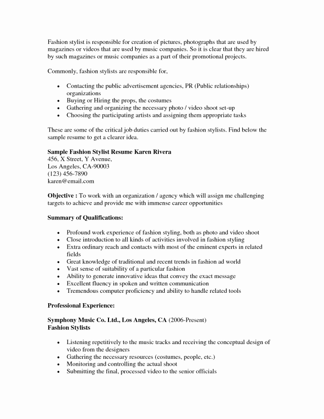 Sample Hair Stylist Resume Entry Level Examples