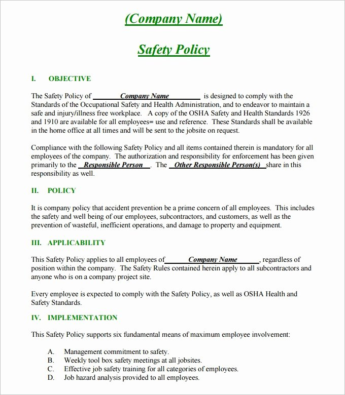 Sample Health and Safety Policy