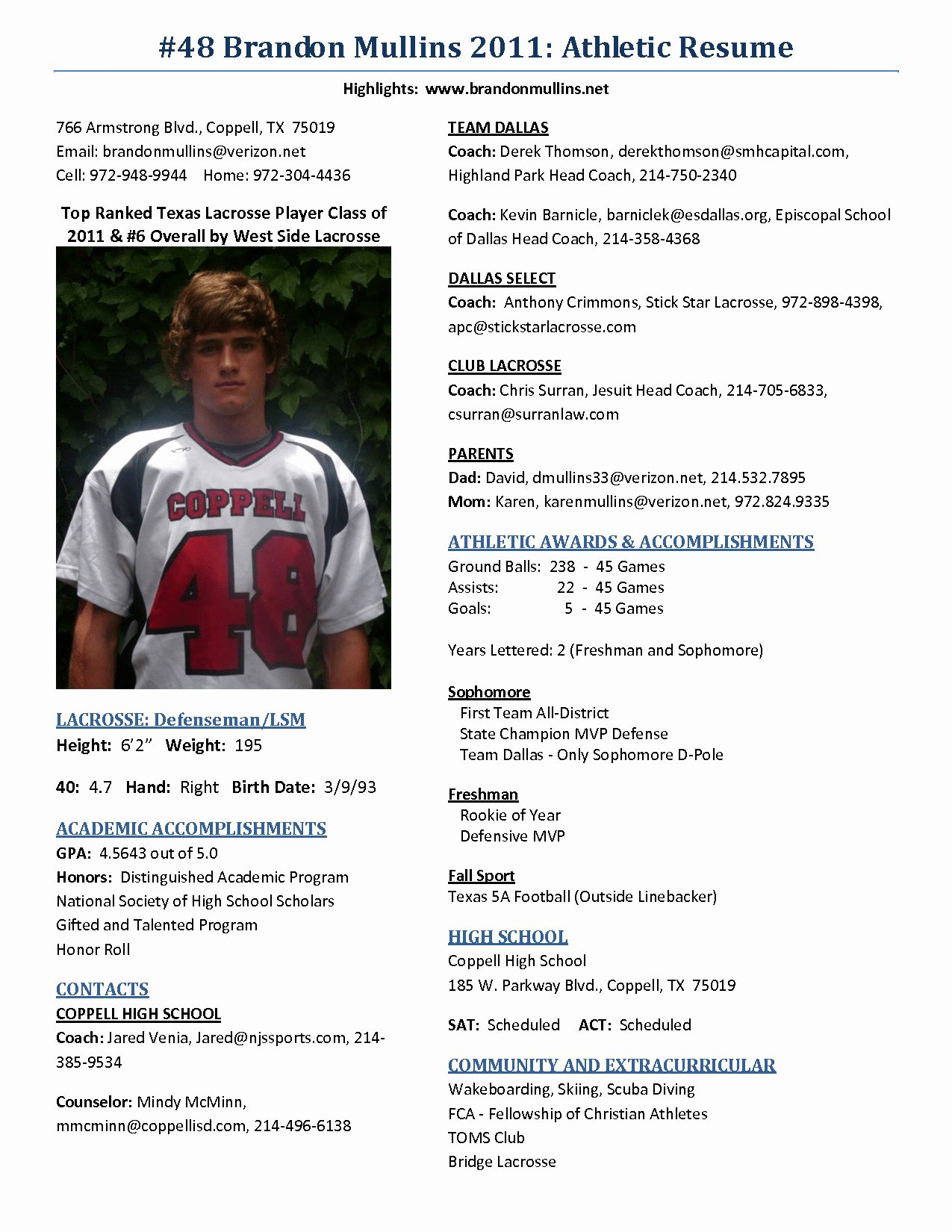 Sample High School athletic Resume for College Refrence