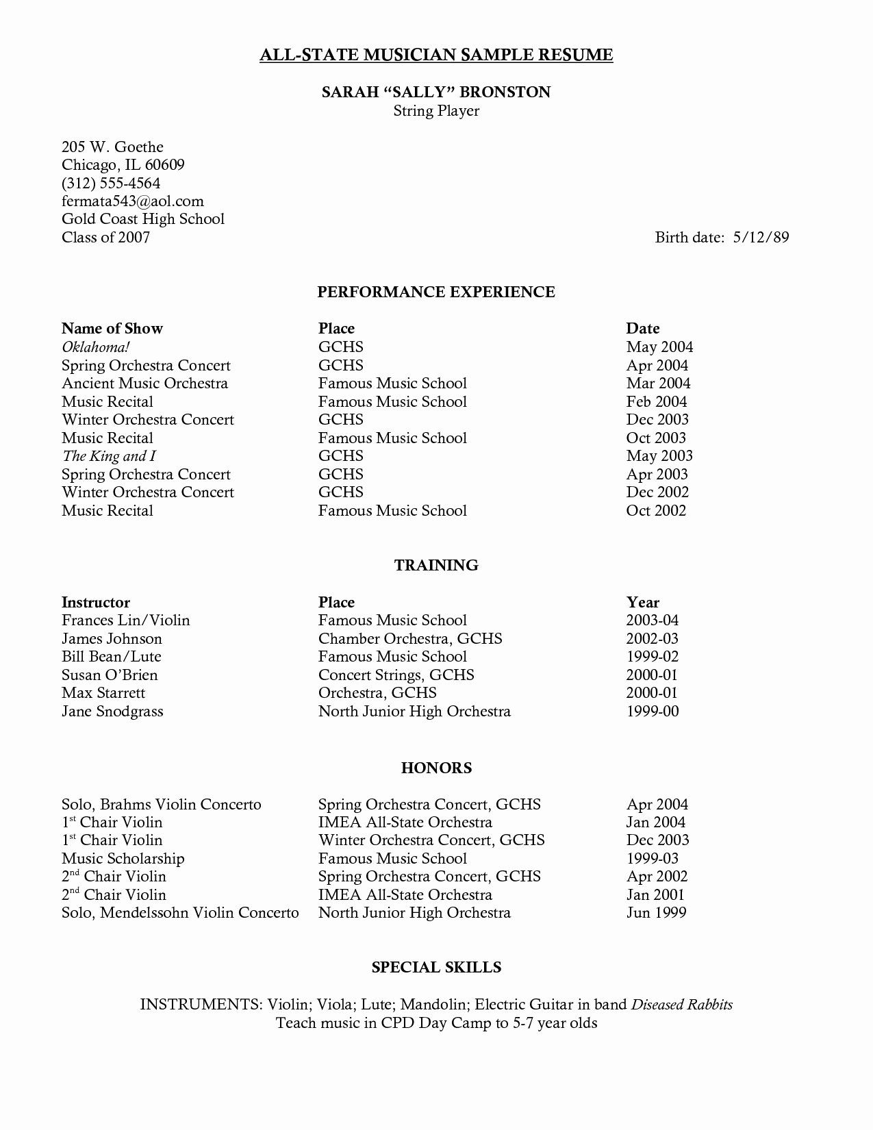 Sample High School Music Resume
