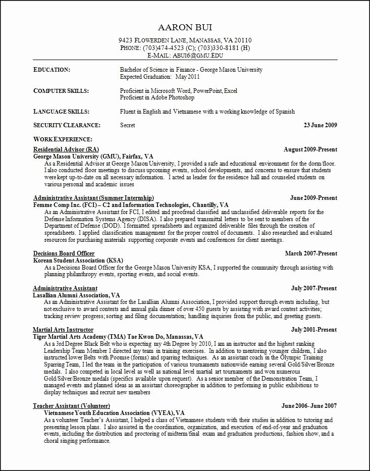 Sample High School Resume College Application Best