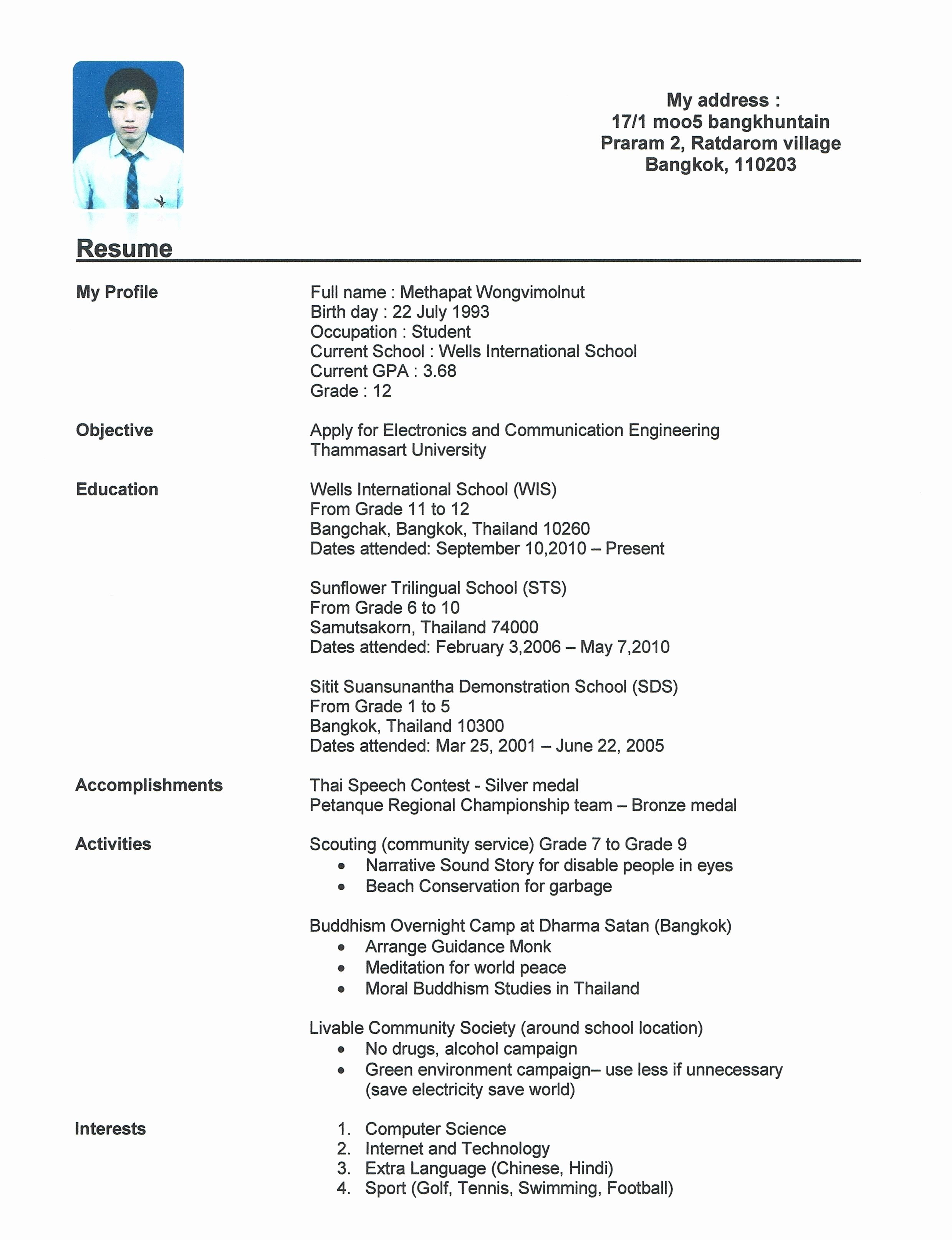 Sample High School Student Resume for Scholarships