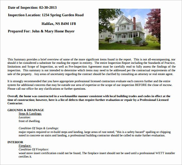 Sample Home Inspection Report Template 11 Free