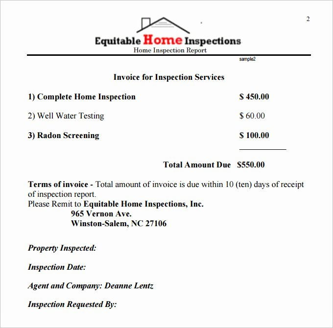 Sample Home Inspection Report Template 9 Free Word Pdf