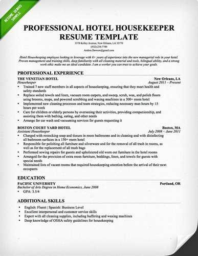 Sample Housekeeping Manager Resume