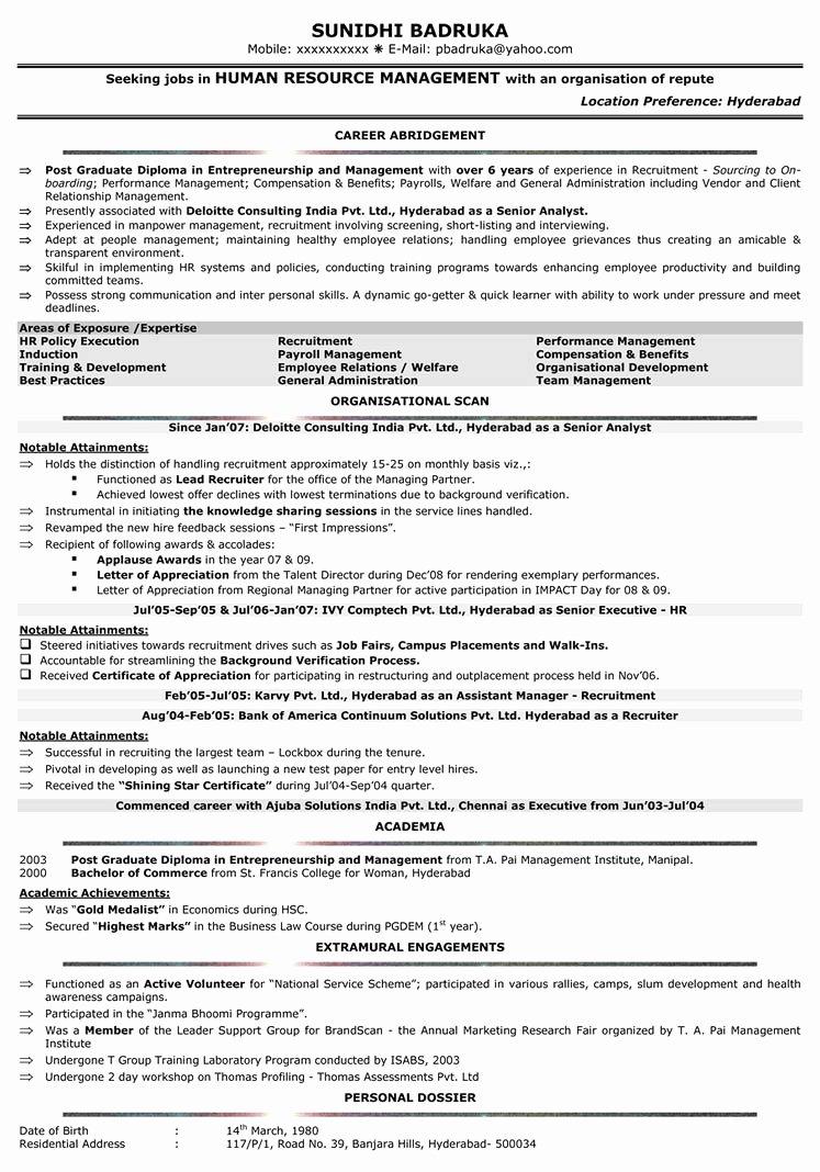 Sample Hr Business Partner Resumes – Perfect Resume format