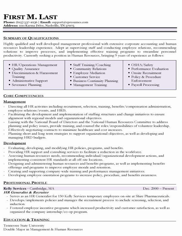 Sample Hr Generalist Resume