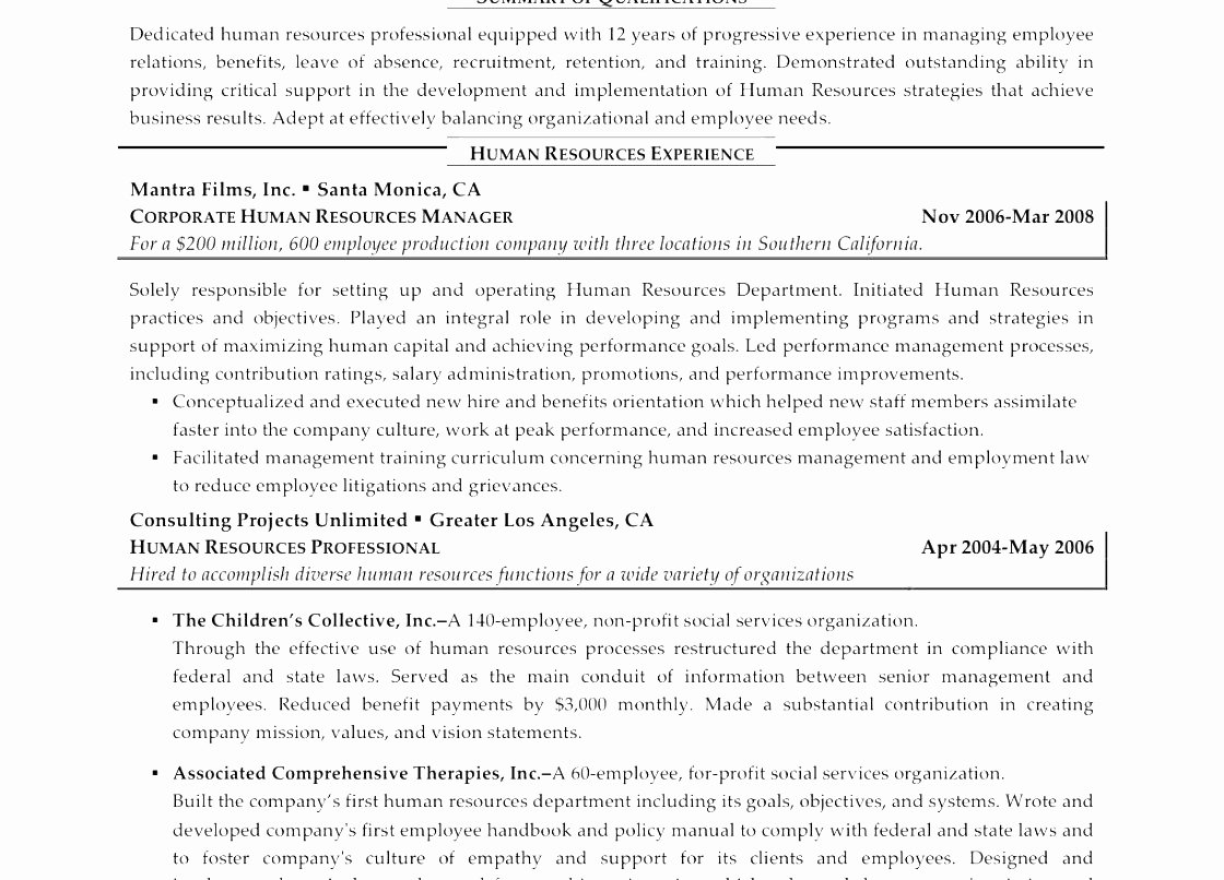 Sample Human Resources Generalist Resume