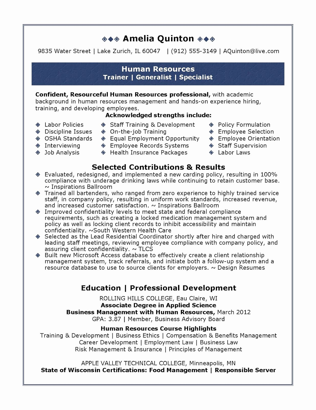 Sample Human Resources Resume