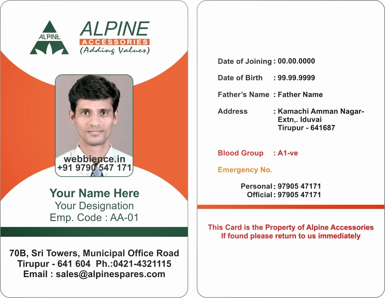 Sample Id Card Template Beautiful Template Design Ideas