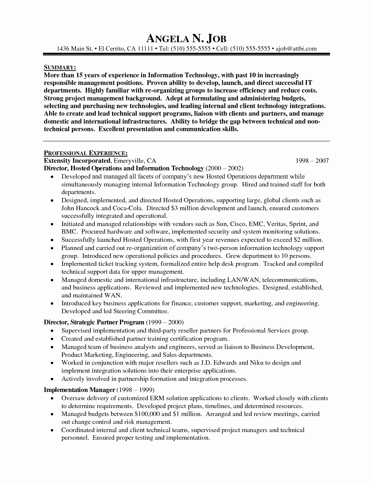 Sample Information Technology Manager Resume Best