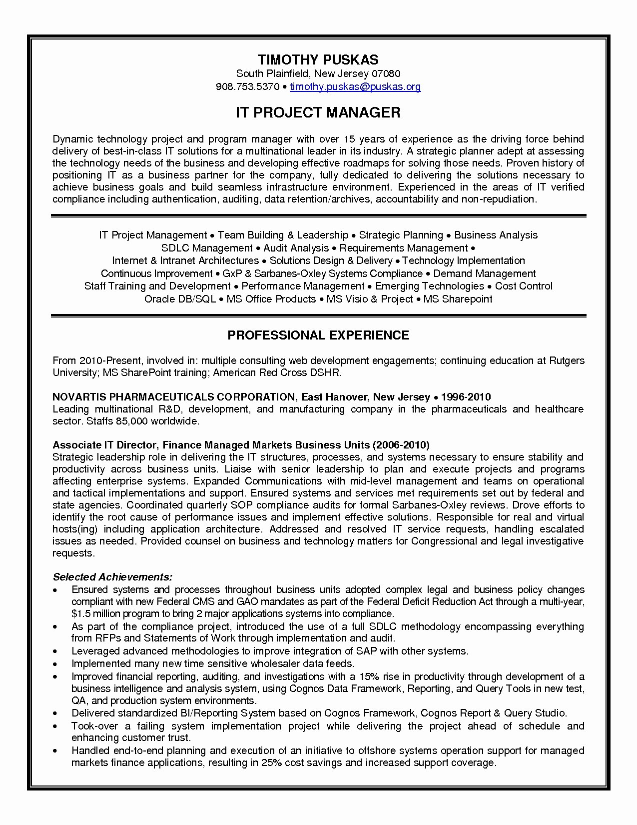Sample Information Technology Manager Resume Bongdaao