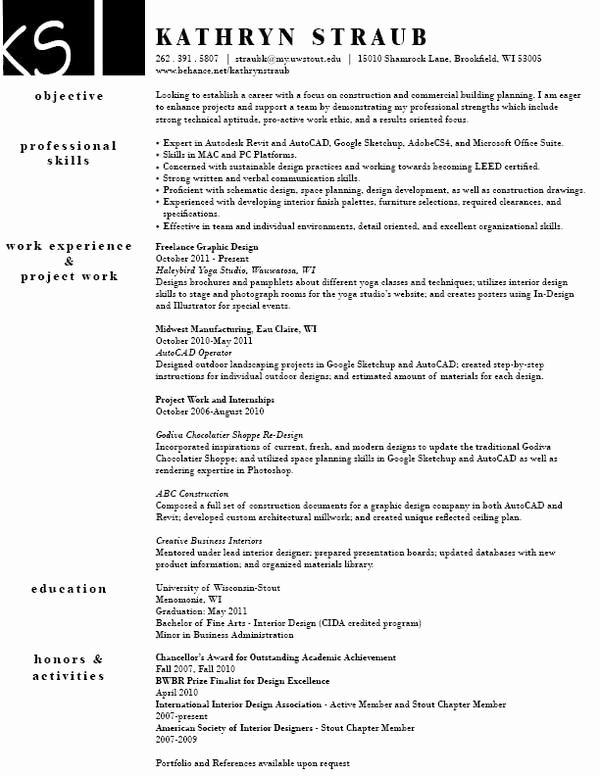 Sample Interior Design Resume Best Resume Collection