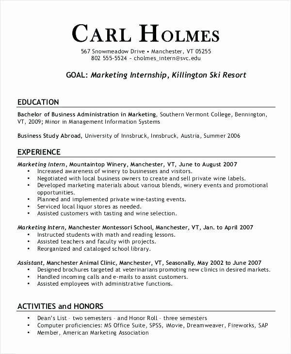 Sample Intern Resume – Creero
