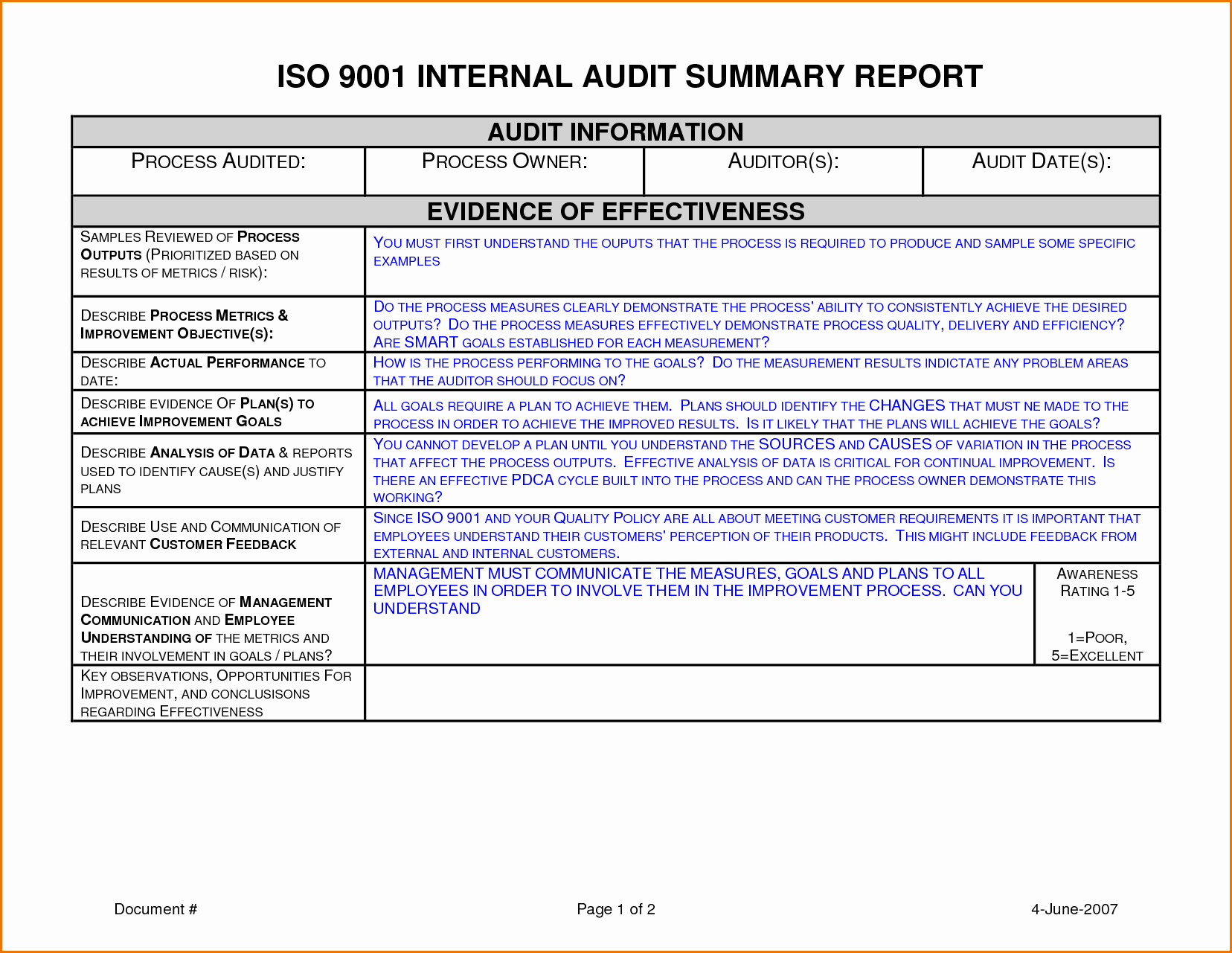Sample Internal Audit Report Template