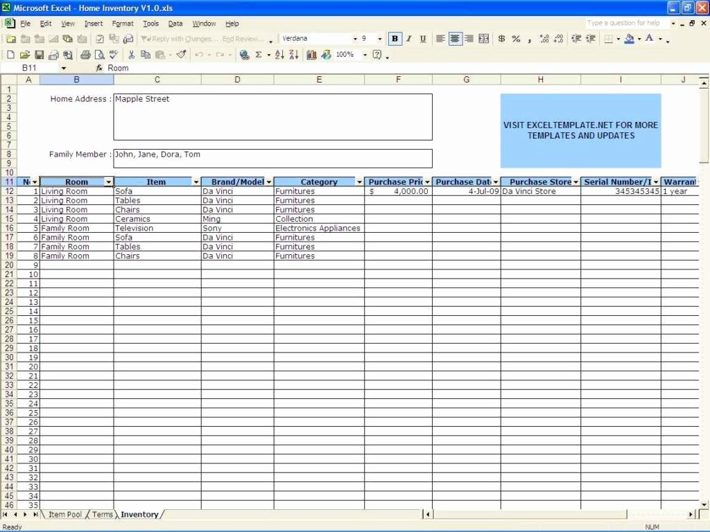 Sample Inventory Spreadsheet Sample Inventory Spreadsheet