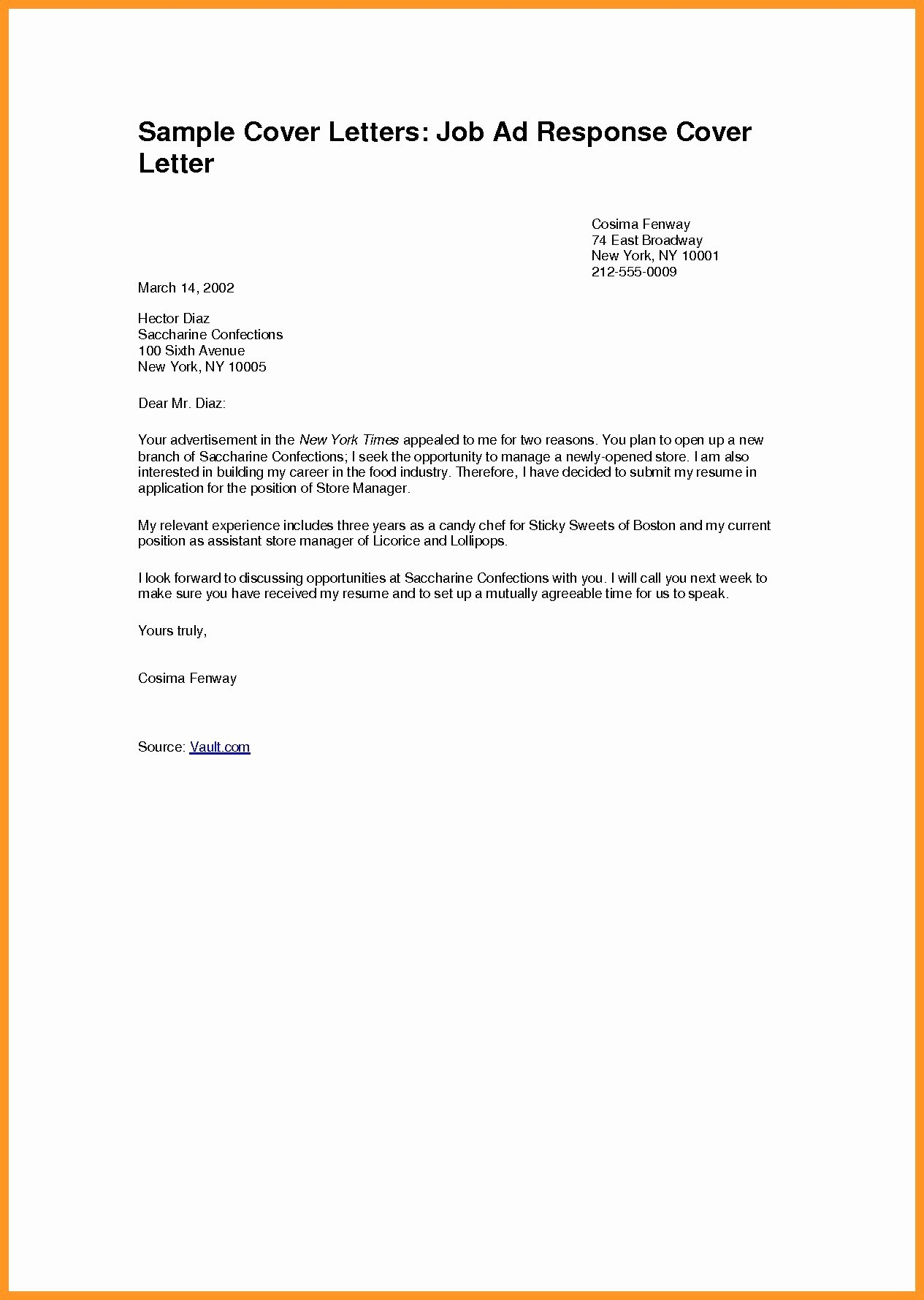 Sample Job Application Letter Template Doc