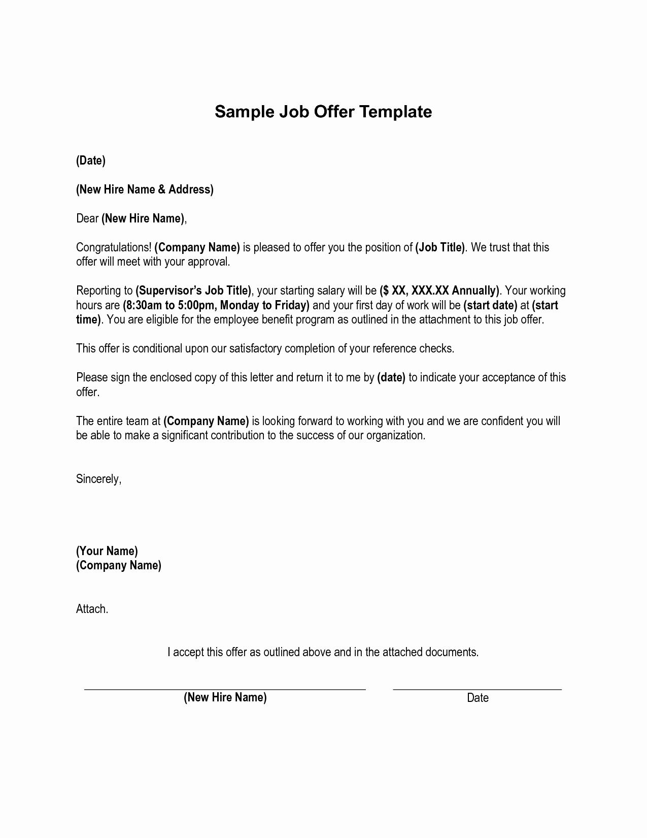 Sample Job Fer Letter