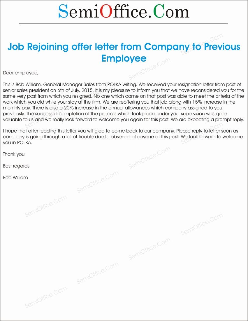 Sample Job Rejoining Offer Letter Of Old Employee
