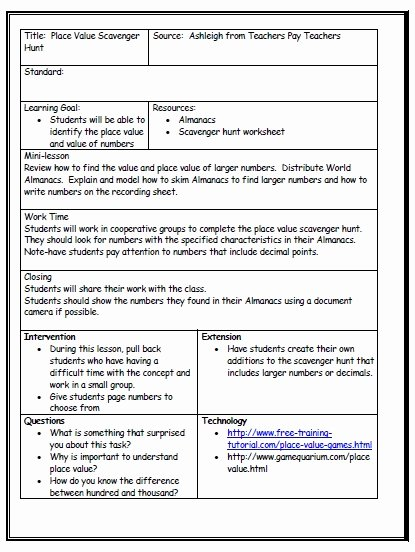 Sample Kindergarten Lesson Plan Template Templates Data