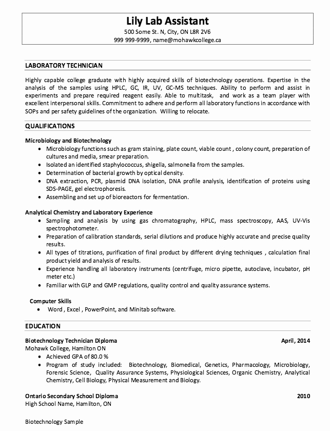 Sample Laboratory Technician Resumes