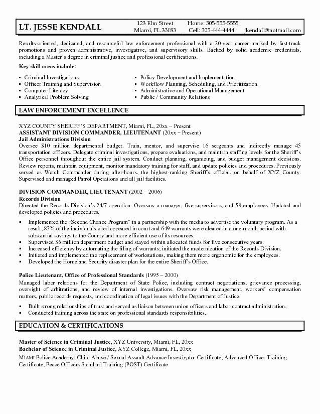Sample Law Enforcement Resume