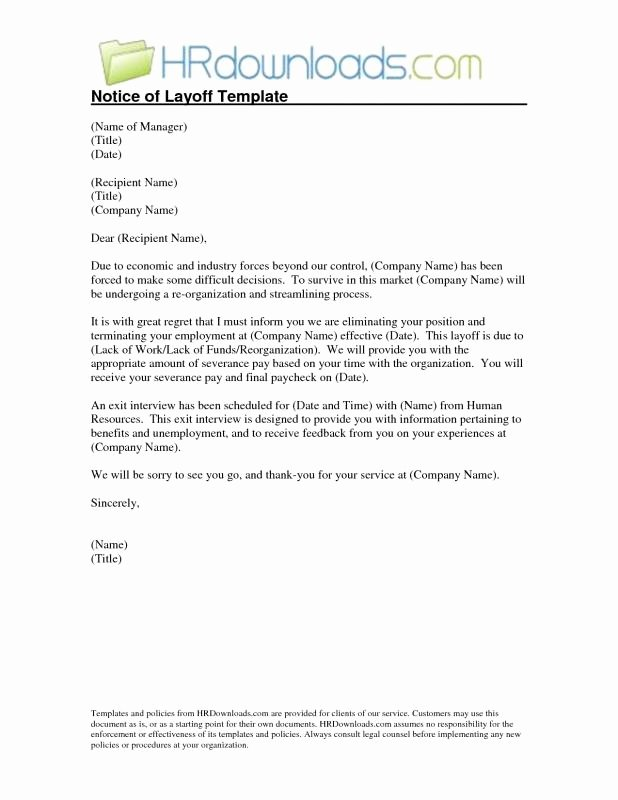 Sample Layoff Letter