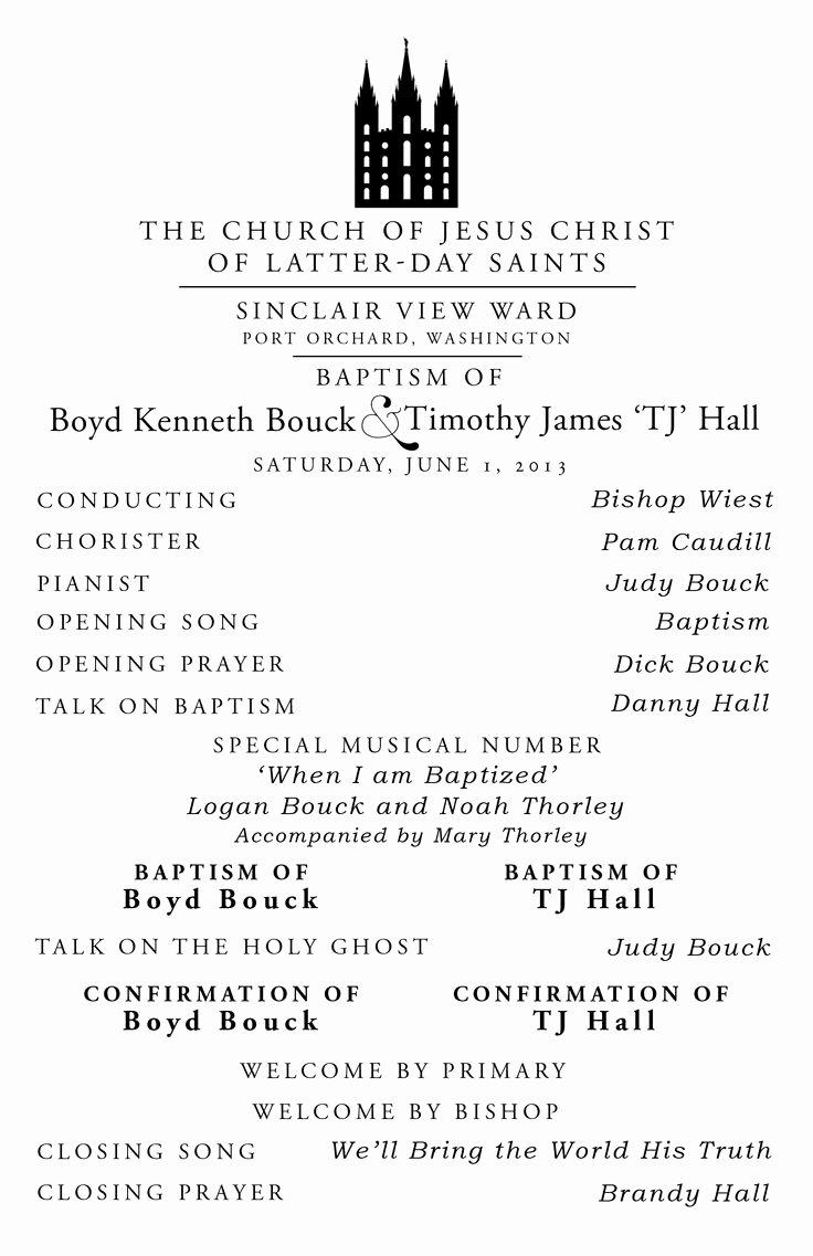 Sample Lds Baptism Programs