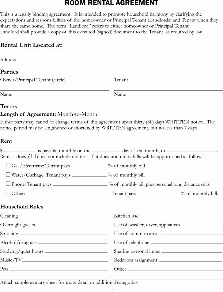 Sample Lease Agreement for Renting A Room