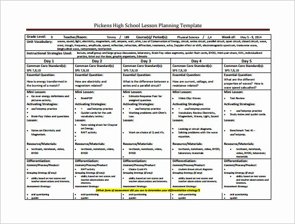 Sample Lesson Plan Template for High School Sample