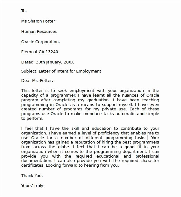 Sample Letter Intent for A Job Transfer Template