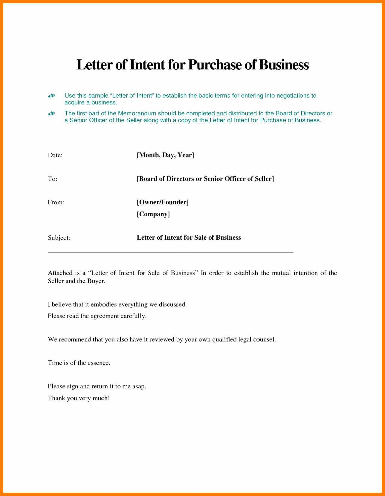 Sample Letter Of Intent to Purchase Business Hire Lease