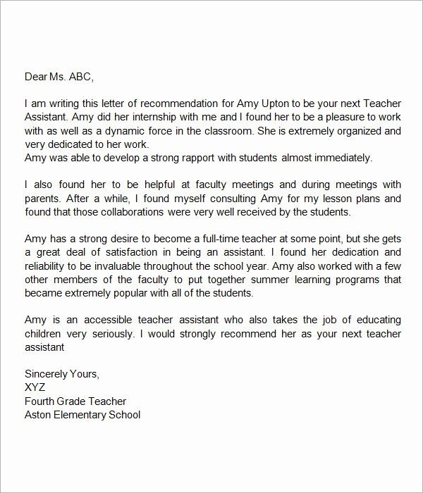 Sample Letter Of Re Mendation for Teacher 18