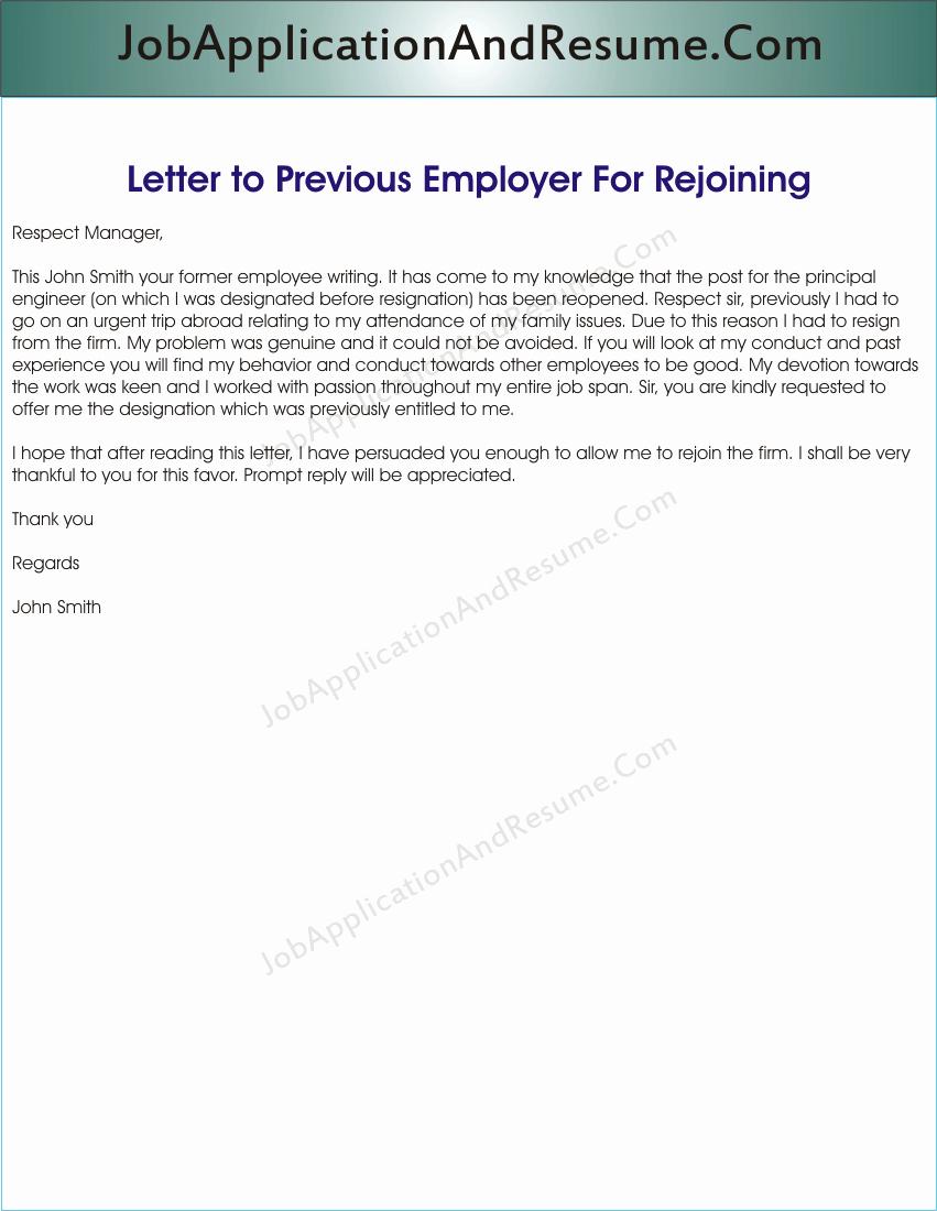Sample Letter to Rejoin the Job