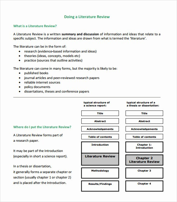 Sample Literature Review Template 6 Documents In Pdf Word