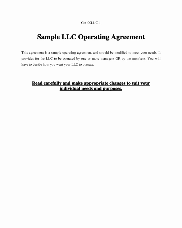 Sample Llc Operating Agreement Edit Fill Sign Line
