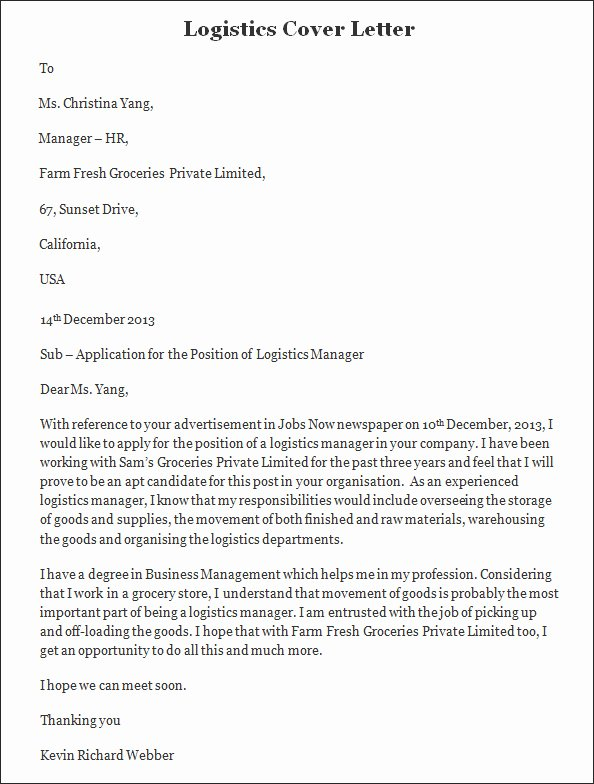 Logistics Manager Cover Letter | Latter Example Template