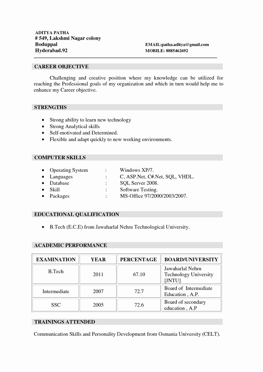 Sample Mba Resume for Freshers Resumes 1200