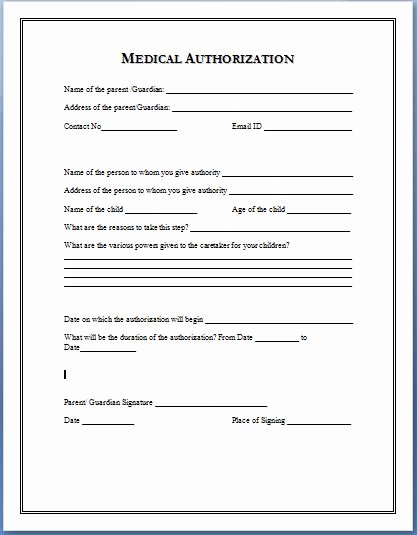 Sample Medical Authorization form Templates