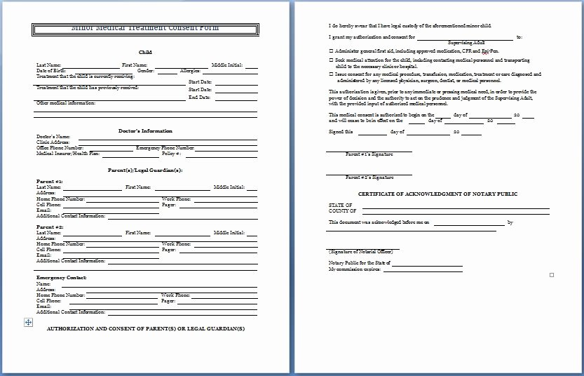 Sample Medical Consent form