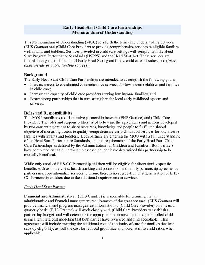 Sample Memorandum Of Understanding Template In Word and