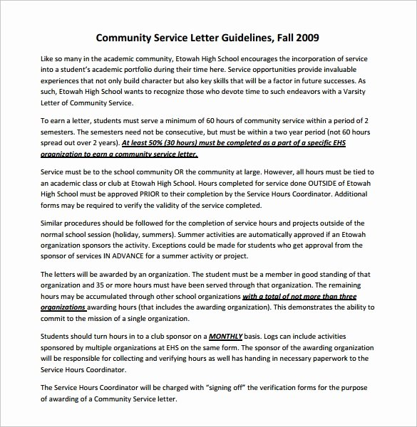 Sample Munity Service Letter 7 Download Free
