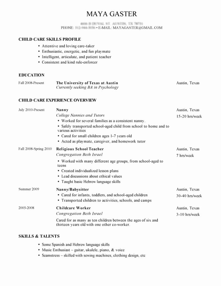 Sample Nanny Resume Tips for Writing Nanny Resume