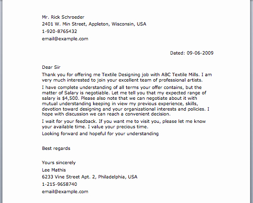 Sample Negotiation Letter Smart Letters