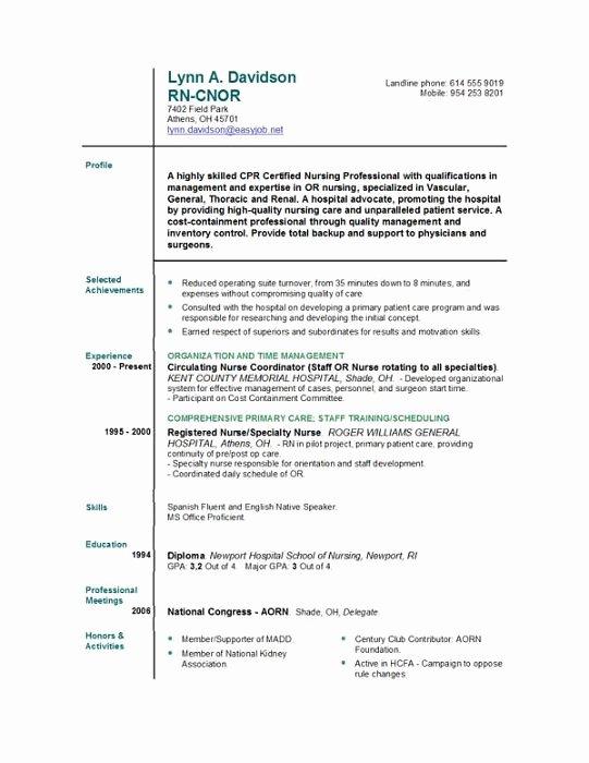 Sample New Grad Rn Resume