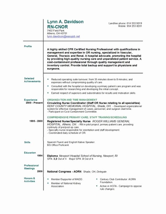 Sample New Grad Rn Resume