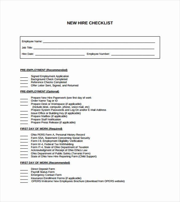 Sample New Hire Checklist Template 11 Documents In Pdf