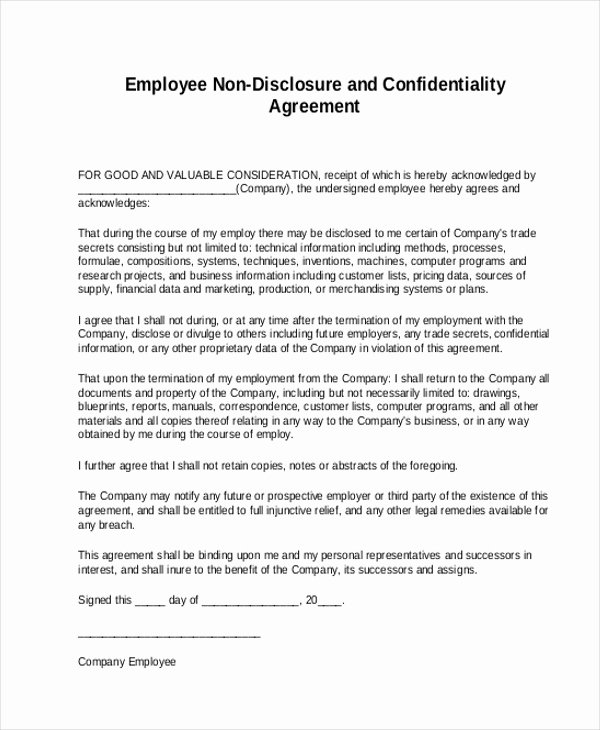 Sample Non Disclosure Agreement form 8 Free Documents