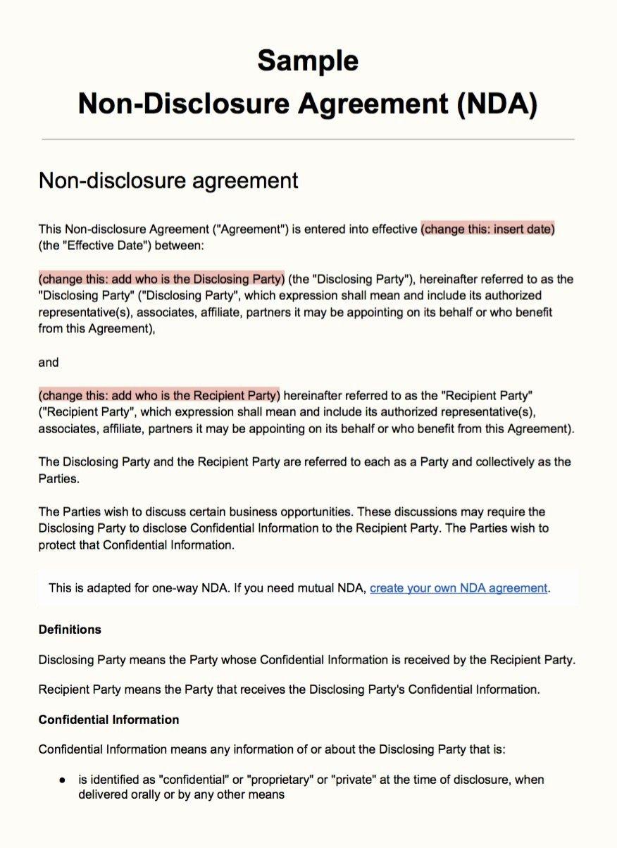 Sample Non Disclosure Agreement Template Everynda