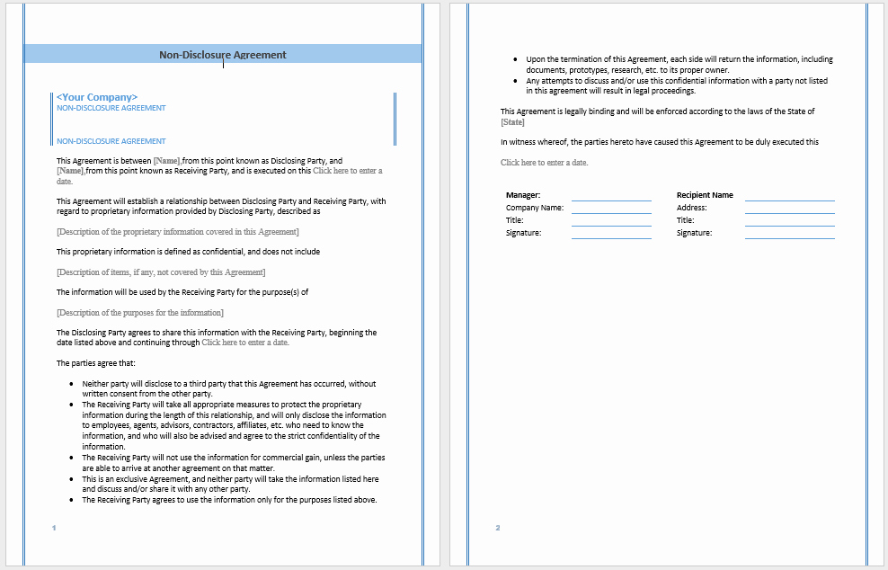 Sample Non Disclosure Agreement Template – Microsoft Word